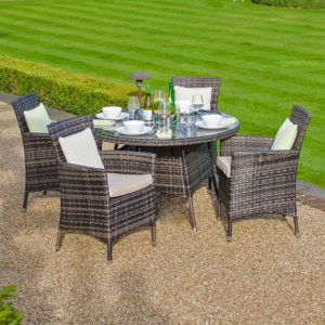 Amelia 4 Seat Round Dining Set - Brown
