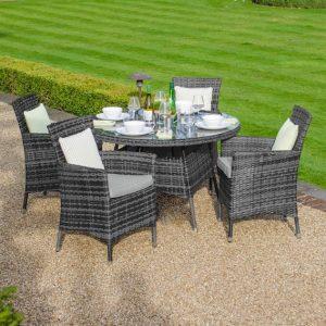Amelia 4 Seat Round Dining Set - Grey