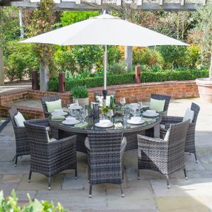Amelia 8 Seat Round Dining Set - Brown