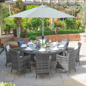 Amelia 8 Seat Round Dining Set - Grey