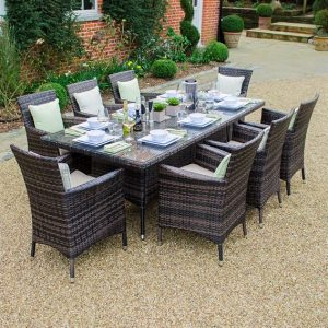 Amelia 8 Seat Rectangular Dining Set - Brown