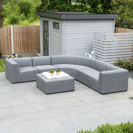 Toft Curved Corner Sofa Set with Square Stool - Flanelle