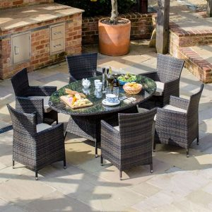 Amelia 6 Seat Oval Dining Set - Brown