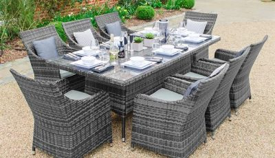 Lyon 8 Seat Rectangular Dining Set - Grey