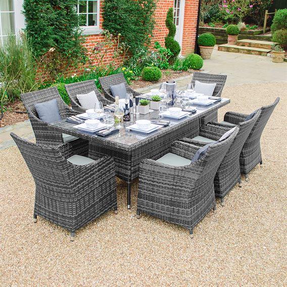 Lyon 8 Seat Rectangular Dining Set - Grey