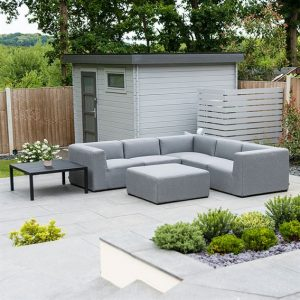 Toft Square Cnr Sofa Set with Table & Square Stool- Flanelle