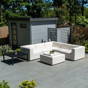 Toft Square Cnr Sofa Set with Table & Square Stool - Canvas