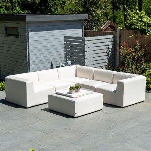 Toft Square Corner Sofa Set with Square Footstool - Canvas