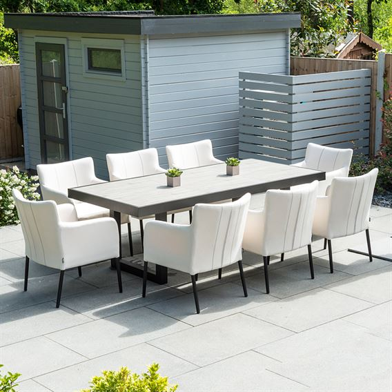 Hadid 8 Seat Rectangular Dining Set - Canvas