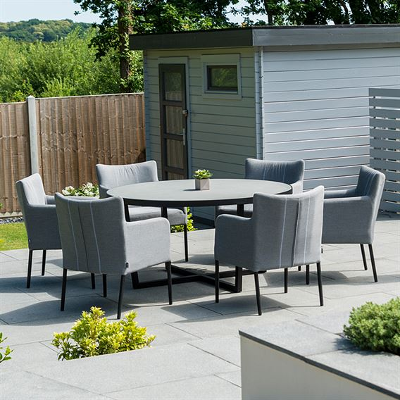 Hadid 6 Seat Round Dining Set - Flanelle