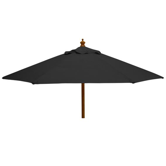 2m Round Wood Pulley Parasol - Black