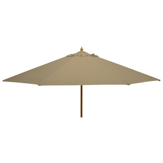 3m Round Wood Pulley Parasol - Taupe