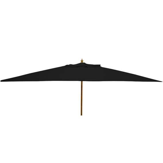 3m x 2m Rectangular Wood Pulley Parasol - Black