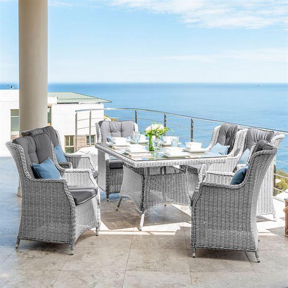 Heritage Thalia 6 Seat Rectangular Dining Set - White Wash