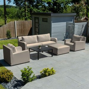 Riva 2 Seater Sofa Set w/ Table & Stool - Taupe
