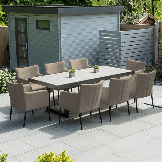 Hadid 8 Seat Dining Table Set - Taupe