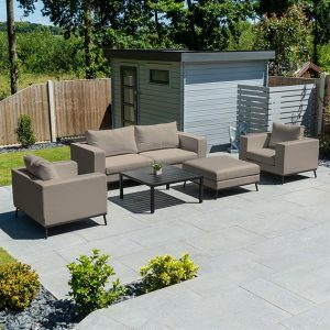 Ego 2 Seater Sofa Set w/ Table & Stool - Taupe