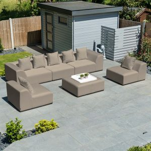 Nova - Buddha Sofa Set With Stool - Taupe