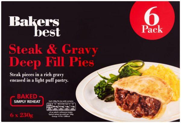 Bakers Best Steak & Gravy Pie 6pk - Frozen
